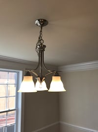 Brushed nickel colored down-light chandelier 27 km