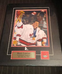 Mario Lemieux, Martin Brodeur - Gold Medal Champion Pics Matted w/Pin & Plate  Pictures are 8X10 All sealed in plastic, Brodeur pic plastic ripped on the back...nothing affected just plastic as in  the picture.pictures are hard to find as a set, brand new Toronto