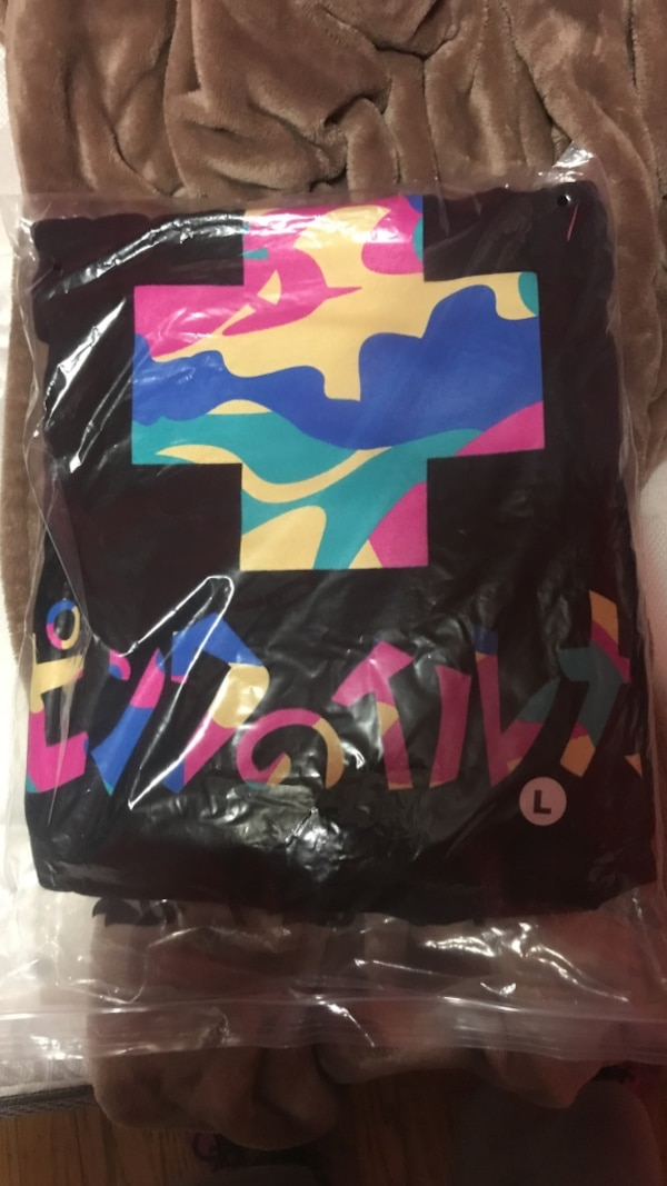 black, yellow, blue, and pink textile pack