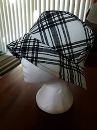 white and black bucket hat