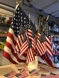 July 4th Party!!  American Flags - 19 Total - Exterior Hanging, Tablescapes, Flower Pot Adornment Potomac