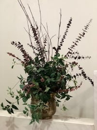 """Floral arrangement is about 27"""" tall.  Includes greens, red twig dogwood and eucalyptus.  Nice container and comes from a non smoking home. De Pere, 54115"""