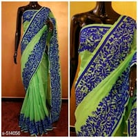 Green and blue net saree Dehradun