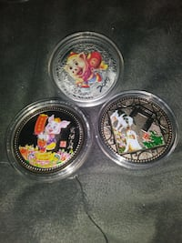 Hand painted year of the pig Chinese zodiac coins