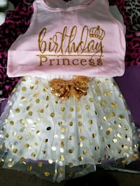 GIRLS PRINCESS OUTFIT SHIRT AND SKIRT. AGE 4 TO 5  Roy