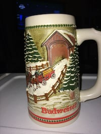 white, green, and red Budweiser ceramic beer stein East Petersburg, 17520
