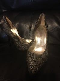 women's pair of gray-and-black floral Guess stilettos Hanover