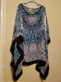 blue and black floral long-sleeved dress Farmers Branch, 75234