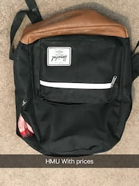 black and brown Hershel backpack with HMU with prices text overlay Calgary, T2Y