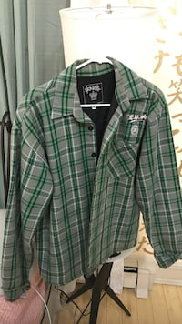 green and gray plaid button-up sport shirt New York, 11385