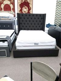 dark brown Queen platform storage bed frame only