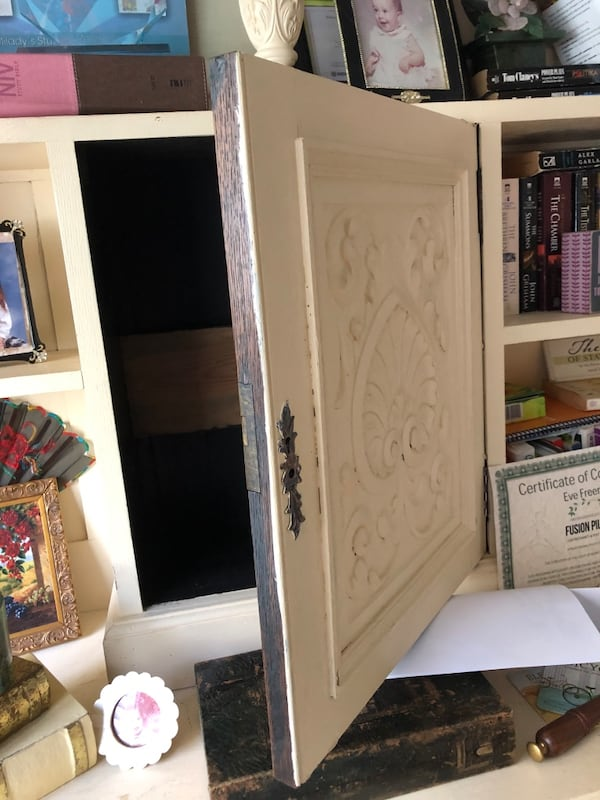 ANTIQUE CABINET, painted it but it could be sanded to walnut $600 FIRM dd98bdef-602d-4bcb-a2df-da1c46c19b5e