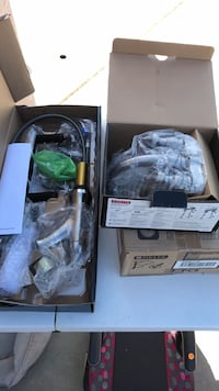Delta faucets. 1 kitchen sink faucet and 4 bathroom sink faucets. Brand new still in the box. $25 each for the bathroom faucets. And $100 for the kitchen sink faucet garage sale at 4920 Camaron  Farmington