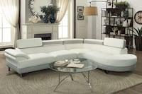2 Piece Faux Leather Rounded Chaise in White & Light GreyFREE DELIVERY