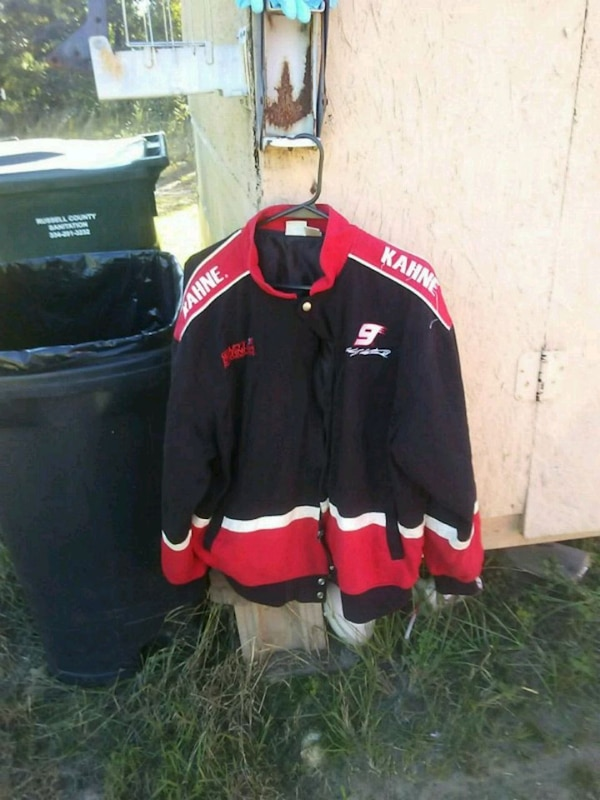 black and red zip-up jacket