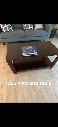 brown wooden coffee table with text overlay Garland, 75042