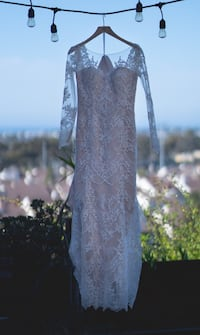 Long sleeve lace wedding dress with blush underlay by Maggie Sottero La Mesa, 91941