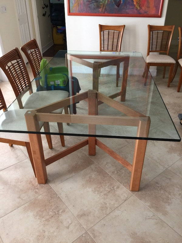 Glass top dining room set 8 chairs
