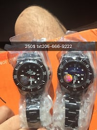 two round black analog watches with link bracelets Montevallo, 35115