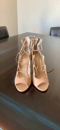 pair of white leather open toe ankle strap heels Phoenix, 85013