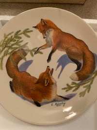 """Foxes and Evergreen"" collectors plate  Pickering, L1V 4S3"