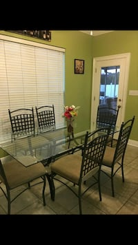 black metal framed glass top table with chairs Luling, 70070