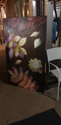 Pier One acrylic purple/silver large floral painting Annapolis, 21409
