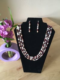 MULTI COLORED 3 STRING FRESH WATER PEARL NECKLACE & EARRING SET West Linn, 97068