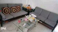 Sofa set 3 seater x 2 = 6 seater + 1 chair wodden  Mumbai, 400016