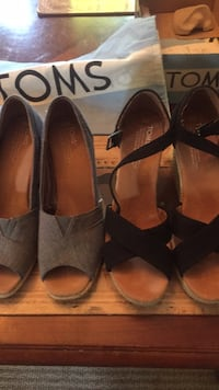 "2 pairs of ""TOMS "" black pair never worn $75.00, blue pair worn twice $50.00 both for $100.00 North Vancouver, V7R 1H8"