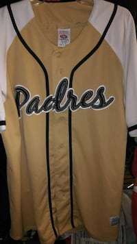 yellow and white Padres button-up baseball jersey
