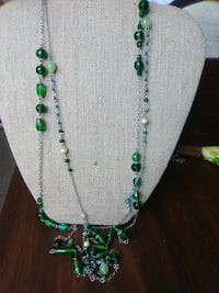 white and green silver beaded necklace Seymour, 06483
