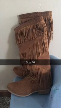size 10 fringed brown suede chunky heeled wide-calf boots