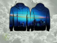pair of black-and-blue city building-print hooded jackets
