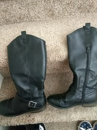 pair of black leather side-zip wide-calf boots