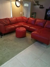RED GENUINE LEATHER SECTIONAL!!