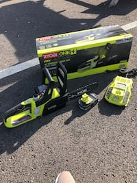 """Ryobi 10"""" chainsaws  18v.  With battery and   Charger"""