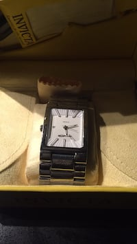 rectangular silver-colored analog watch with link bracelet Vancouver
