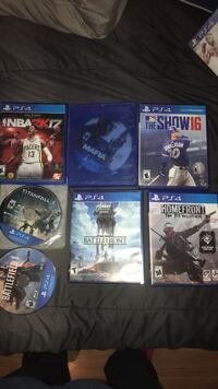 five Sony PS4 game cases