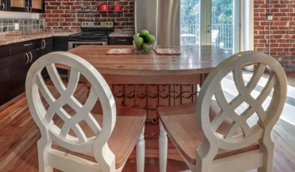 Wooden Kitchen Island w/ 2 bar stools & wine rack a6b63d10-74a3-4116-a5c9-154c1ffc890b