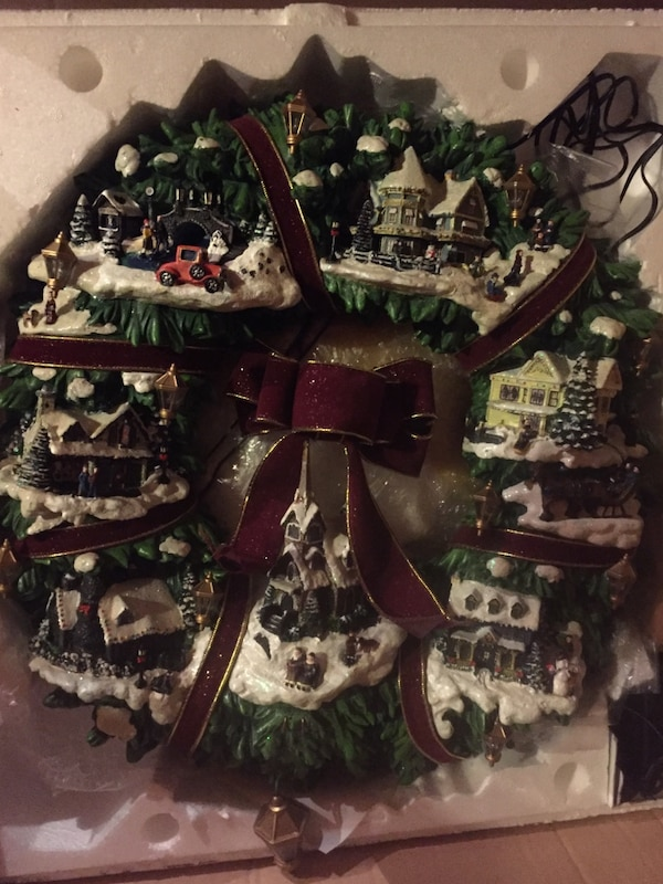 Used Thomas Kinkade Illuminated Christmas Village Wreath For Sale In