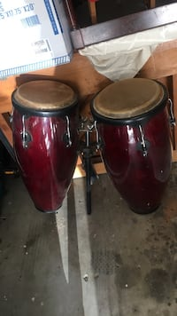 two red bongo drums