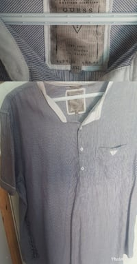 gray Guess polo-collar shirt
