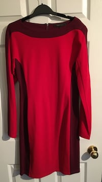 women's black and red long-sleeved dress