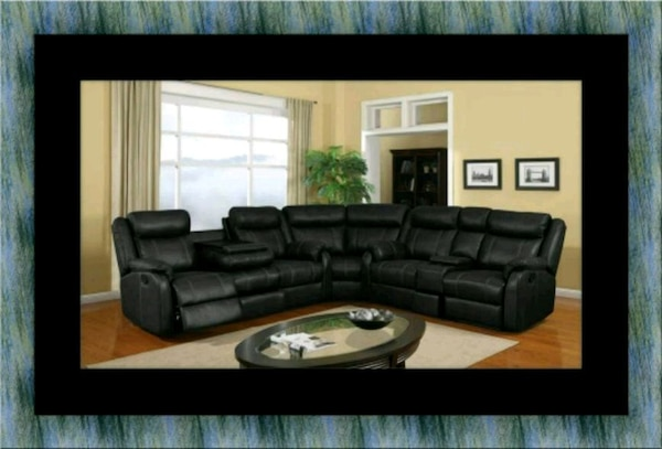 Cshape sectional black bonded leather 0540e5aa-5289-4479-b1d8-8411b3aaea94