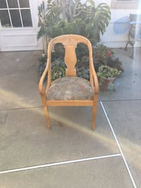 Blonde rounded back wooden  chair with tropical cushion ,unique