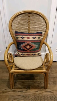 Rattan bentwood chair, peacock chair, vintage, bohemian, pillow