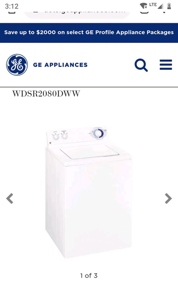 GE Super Capacity Washer  WDSR2080DWW 0