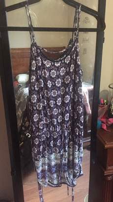 purple, white, and blue floral spaghetti trap dress