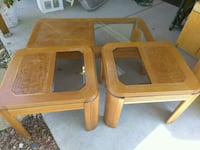Two wood end table and coffee table.. Gretna, 70056